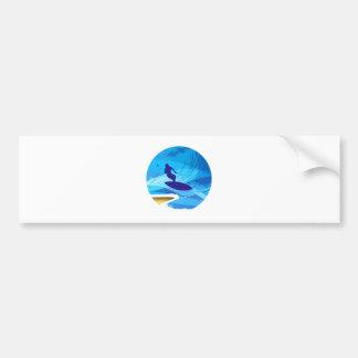 Wave rider surfer bumper sticker
