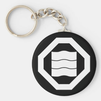 Wave-shaped Kanji characters for three in Oshiki Basic Round Button Keychain