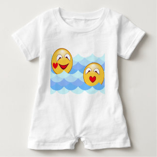 Wave smiley baby romper