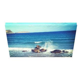 wave splash beach canvas print