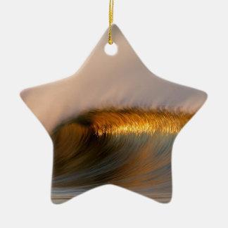 wave Suset  california Ceramic Star Ornament