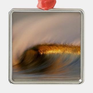 wave Suset  california Silver-Colored Square Ornament