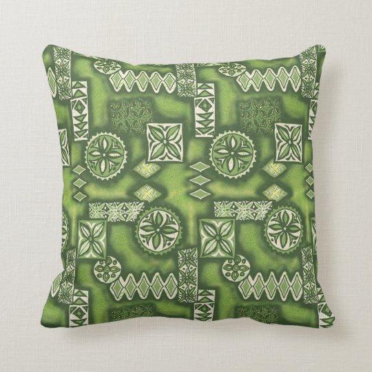 Wave Warrior Hawaiian Tapa Throw Pillow