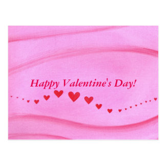 Wave Wavy Red Hearts Pink Valentine Postcards
