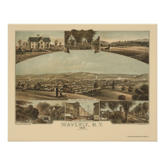 Waverly, NY Panoramic Map - 1881 Poster