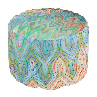 Waverly Peak Round Pouf by Artist C.L. Brown