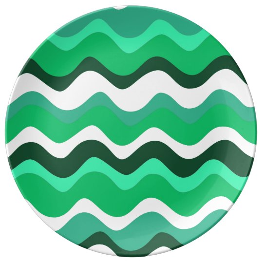 Waves 2 (green) porcelain plates