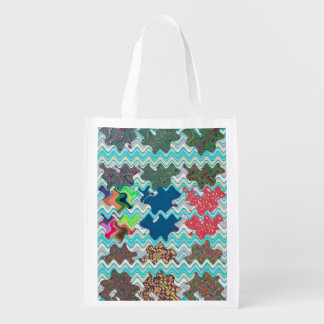 Waves abstract art design on 100 gifts Posters fun Grocery Bags