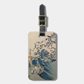 Waves and Birds, c.1825 (colour woodblock print) Luggage Tag