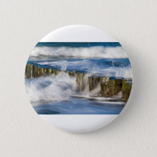 Waves and groynes on the Baltic Sea coast 2 Inch Round Button