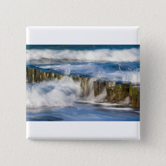 Waves and groynes on the Baltic Sea coast 2 Inch Square Button