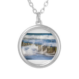 Waves and groynes on the Baltic Sea coast Silver Plated Necklace