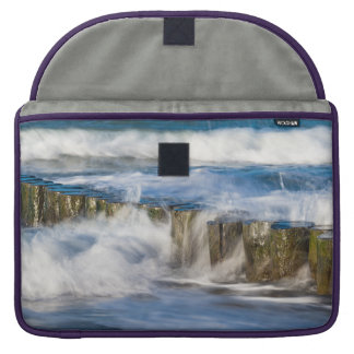Waves and groynes on the Baltic Sea coast Sleeve For MacBook Pro