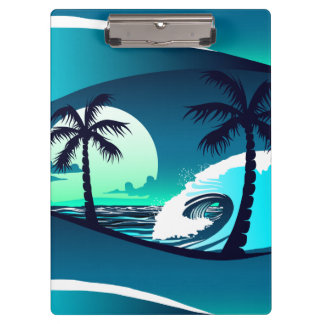 Waves and palm trees clipboard