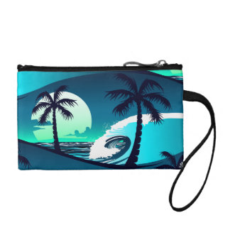 Waves and palm trees coin purse