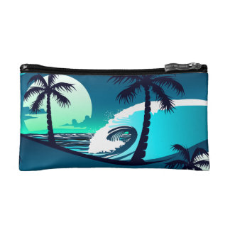 Waves and palm trees cosmetic bag
