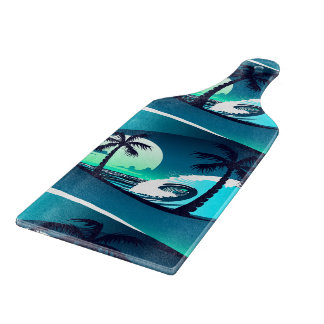 Waves and palm trees cutting board