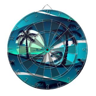 Waves and palm trees dartboard