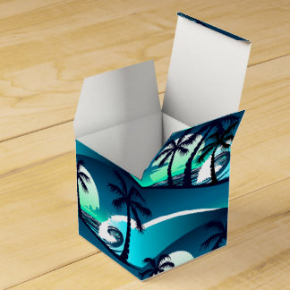 Waves and palm trees favor box