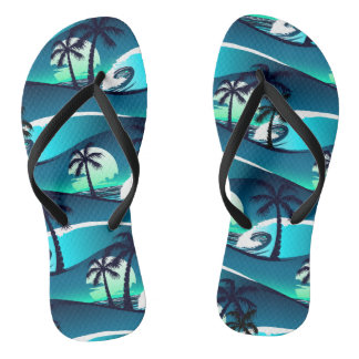 Waves and palm trees flip flops