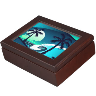 Waves and palm trees keepsake box
