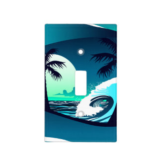 Waves and palm trees light switch cover