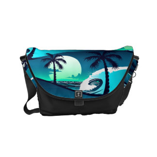 Waves and palm trees messenger bag