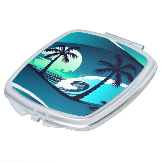 Waves and palm trees mirror for makeup