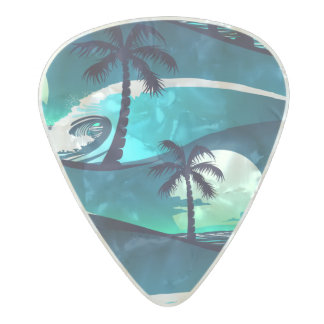 Waves and palm trees pearl celluloid guitar pick