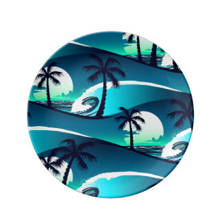 Waves and palm trees plate