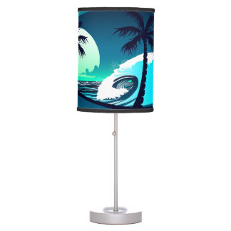 Waves and palm trees table lamp