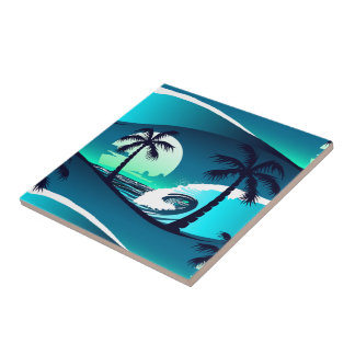 Waves and palm trees tile