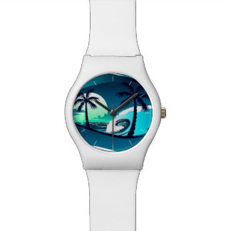 Waves and palm trees watch