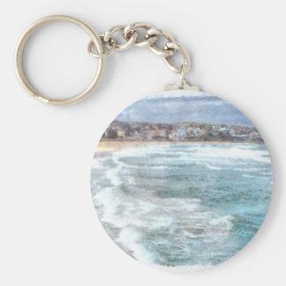 Waves at Bondi beach Basic Round Button Keychain