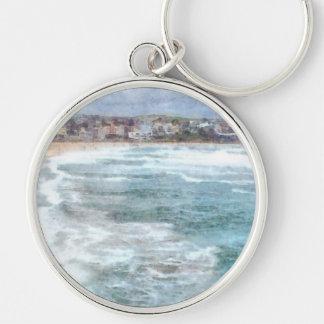 Waves at Bondi beach Silver-Colored Round Keychain