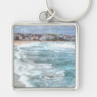 Waves at Bondi beach Silver-Colored Square Keychain