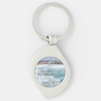 Waves at Bondi beach Silver-Colored Swirl Keychain