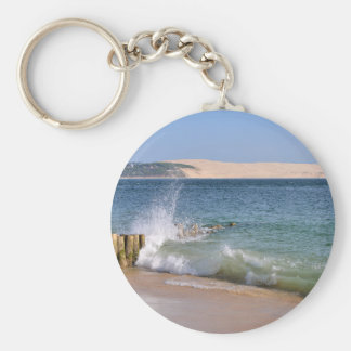 Waves at Cap-Ferret in France Basic Round Button Keychain