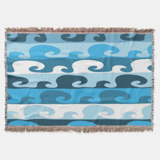 Waves (blue) throw blanket