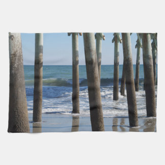 Waves Breaking Under the Pier at Myrtle Beach Kitchen Towel