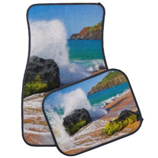 Waves crash on the beach, Hawaii Car Mat