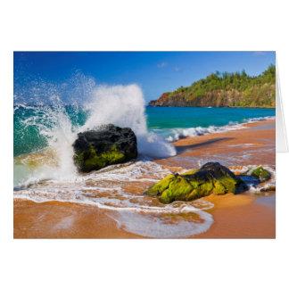 Waves crash on the beach, Hawaii Card