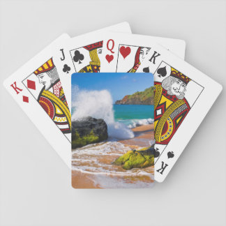 Waves crash on the beach, Hawaii Poker Deck