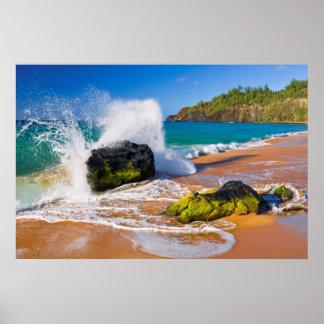 Waves crash on the beach, Hawaii Poster
