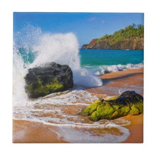 Waves crash on the beach, Hawaii Tile