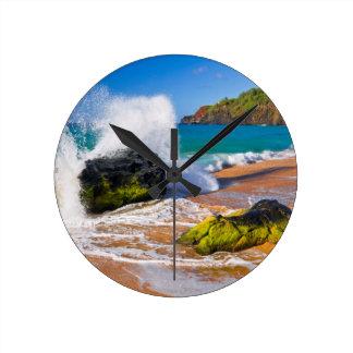 Waves crash on the beach, Hawaii Wallclocks