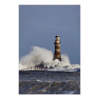 Waves Crashing Against Roker Lighthouse Poster