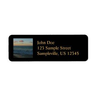 Waves Crashing at Sunset Beach Landscape