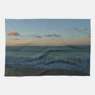 Waves Crashing at Sunset Beach Landscape Kitchen Towel