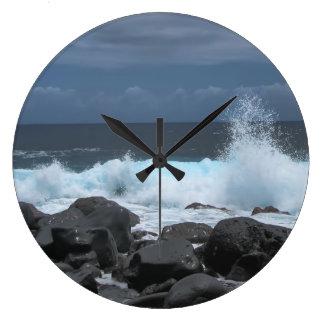 Waves Crashing Large Clock